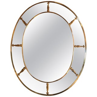 Large Oval Art Deco Mirror With Brass Decorations, Italy, 1930s For Sale