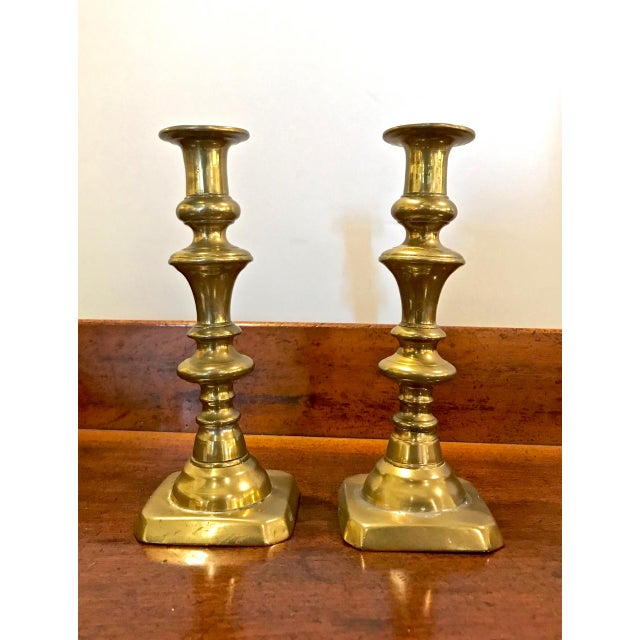 19th Century Brass Push-Up Candlesticks For Sale In Los Angeles - Image 6 of 7