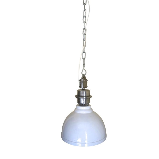 White Clinton Industrial Ceiling Pendant For Sale - Image 8 of 8