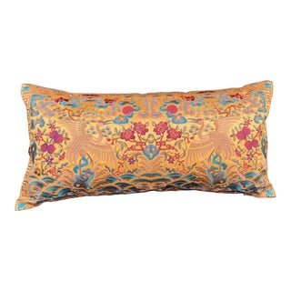 Hollywood Regency. Gold & Red Asian Cranes Chinoiserie Boudoir Lumbar Pillow For Sale