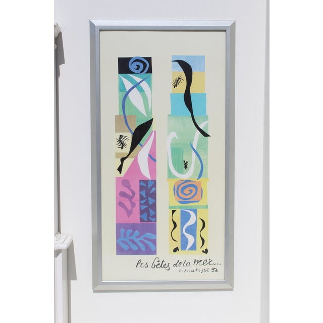 Paper 20th Century Modern Matisse Poster With Brushed Silver Frame For Sale - Image 7 of 7