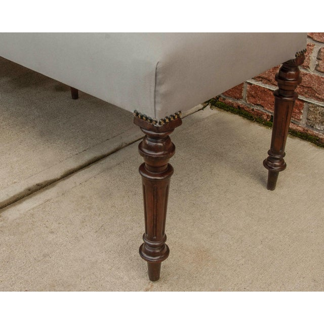 English Traditional Early 20th Century Vintage English Mahogany Antique Grey Upholstered Bench For Sale - Image 3 of 4