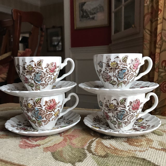 """When you just want to serve up tea or coffee for friends in beauty... Four 5.75"""" saucers and 3"""" tall cups - Staffordshire..."""
