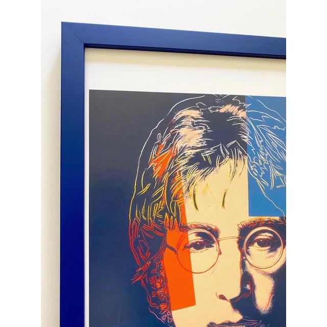 """1990s Andy Warhol Estate Vintage 1990 Framed Pop Art Lithograph Print """" John Lennon """" 1986 For Sale - Image 5 of 13"""