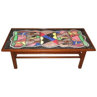 1950s Mid-Century Modern Mosaic Glass Coffee Table For Sale