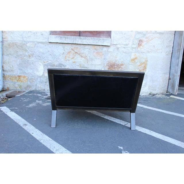 Metal Uhuru Design Breini Black Leather Armchair For Sale - Image 7 of 8