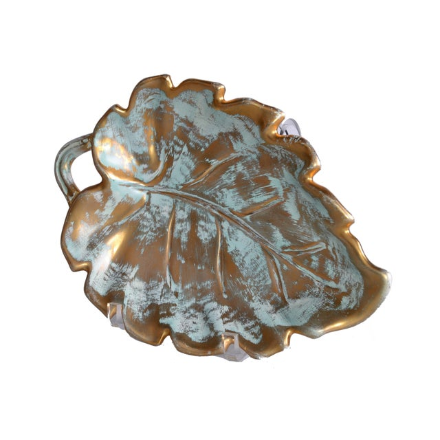 Stangl Gold Leaf Ceramic Catchall Bowl For Sale - Image 5 of 9