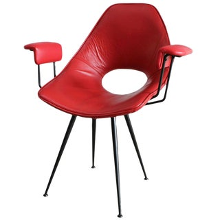 Rima Red Leather Armchair For Sale
