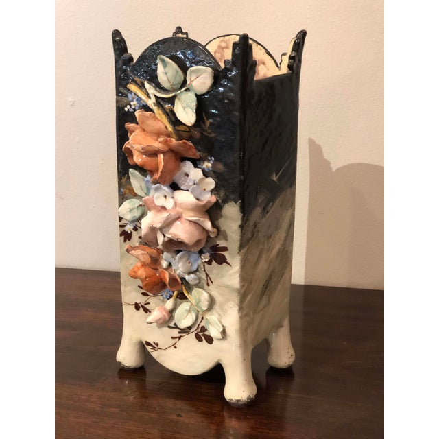 19th Century Edouard Gilles French Barbotine Majolica Vase For Sale - Image 5 of 9