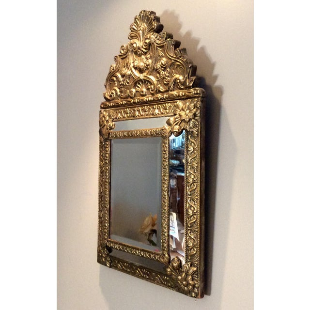 Brass Antique Flemish Repousse Mirror For Sale - Image 7 of 10
