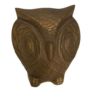 1980s Regency Brass Owl Figurine For Sale