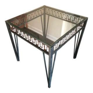 Vintage Brutalist Verdigris-Hued Side Table in Painted Iron For Sale