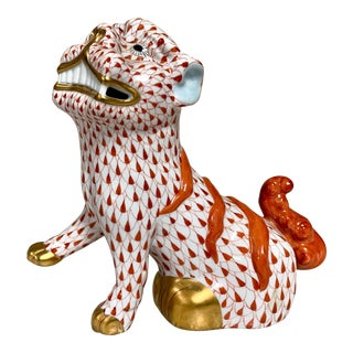Red Fish Scale Herend Porcelain Foo Dog For Sale