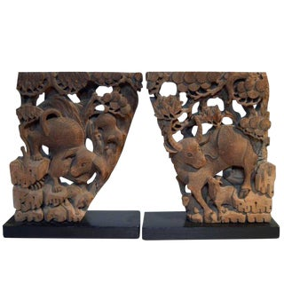 Pair of Antique Hand-Carved Wood Temple Corbels from 18th Century, China