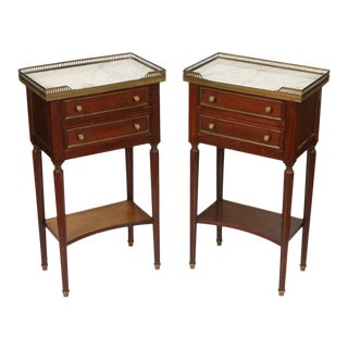 Louis XVI Style Marble Top Nightstands With Pierced Brass Gallery - a Pair For Sale