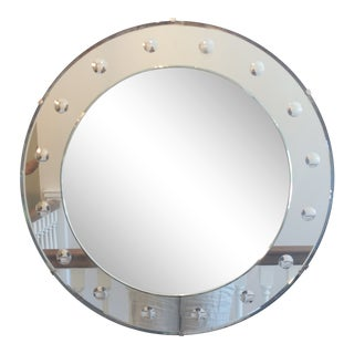 1940s Art Deco Round Frameless Mirror For Sale