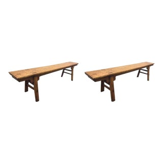 "Pair of 19th Century 84"" Long Elmwood Chinese Benches For Sale"