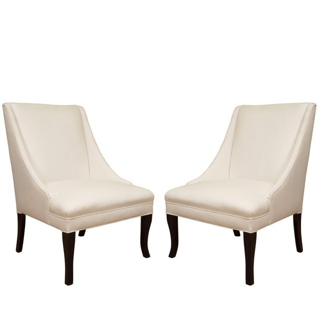 White Vintage Slipper Chairs - A Pair For Sale - Image 8 of 8