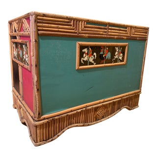 Early 20th Century Folk Art Toy Chest With Split Bamboo and Lithographed Brass Plaques For Sale