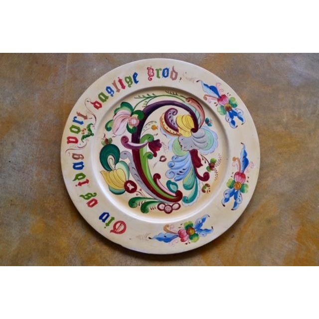 One of a kind folkloric bread platter from the Norwegian old country. Hand-turned wood platter, Handpainted with colorful...