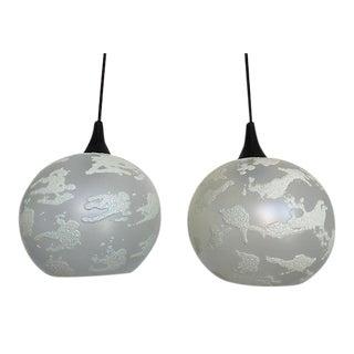 Modern Art Glass Pendant Lights - a Pair For Sale