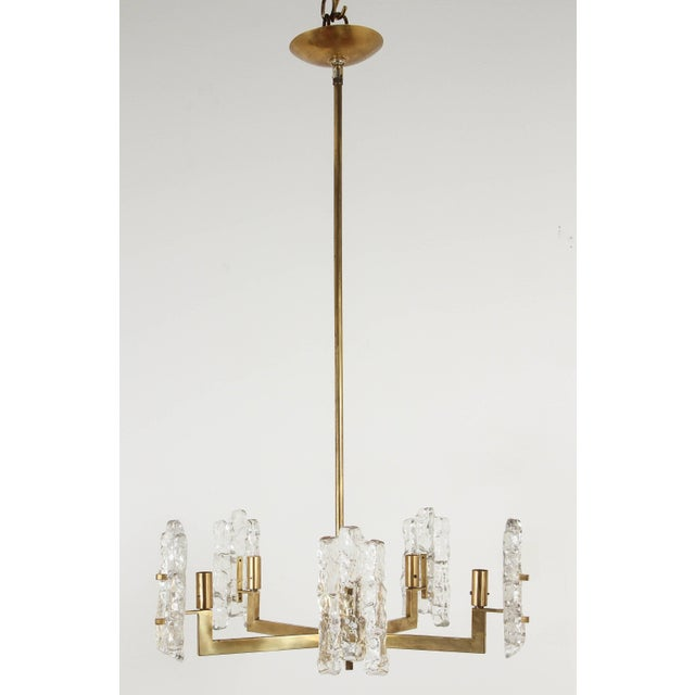 1960s Italian Glass Pendant With Kalmar Textured Glass Shades For Sale - Image 5 of 10