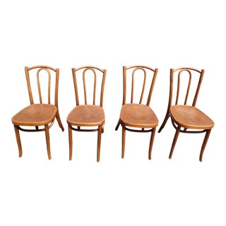 Antique Vintage Mazowia Embossed Bentwood Cafe Dining Chairs Poland- Set of 4 For Sale
