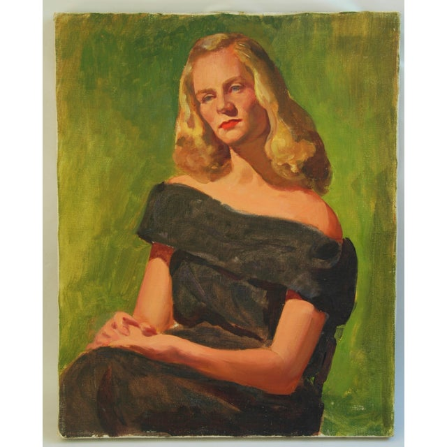 Mid-Century Lady with Golden Hair Oil Portrait - Image 2 of 7