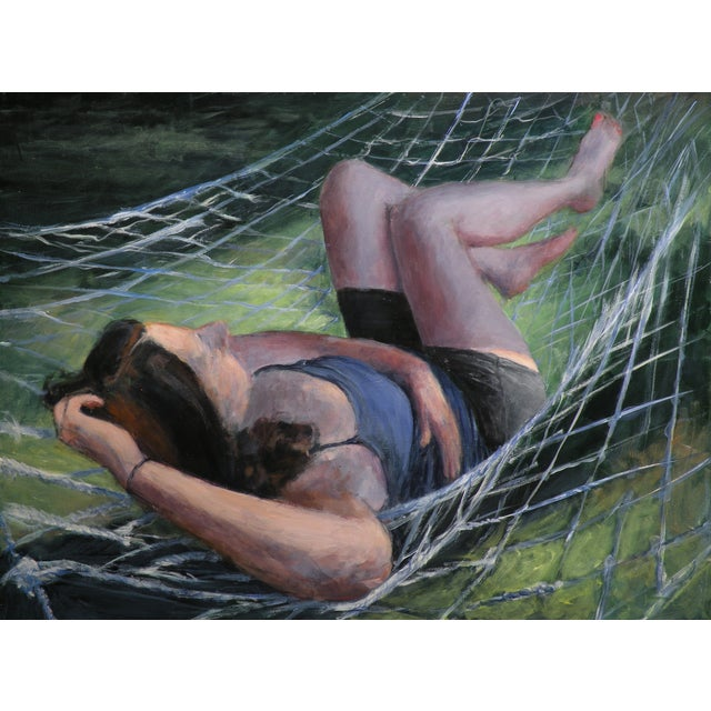 Woman Sleeping on a Hammock in Summer Painting - Image 1 of 2