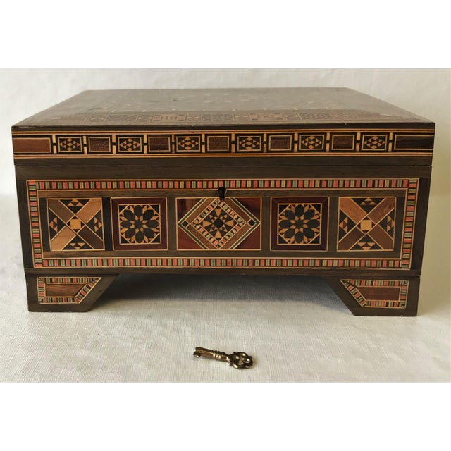 Islamic Turkish Inlaid Marquetry Mosaic Box With Key For Sale - Image 3 of 13