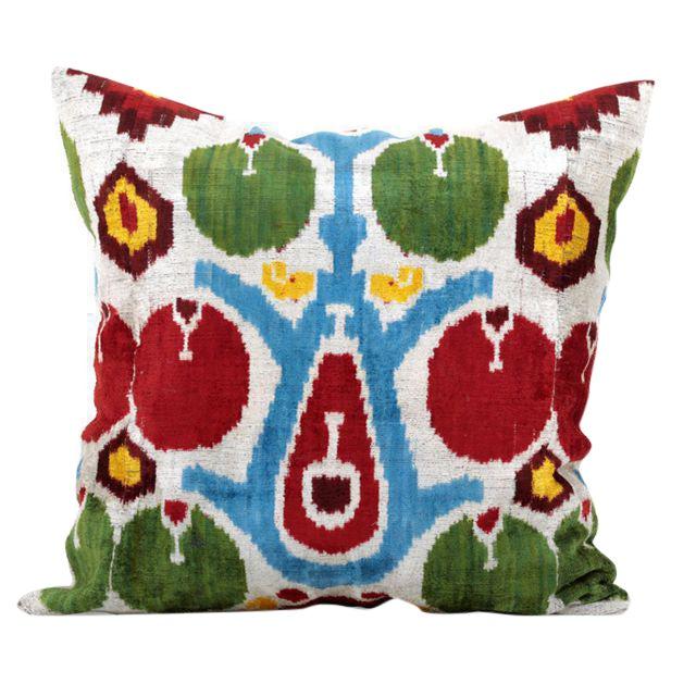 Custom Boho Silk Velvet Ikat Pillow Cover. For Sale