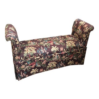 Late 20th Century Upholstered Rolled Arm Bench For Sale