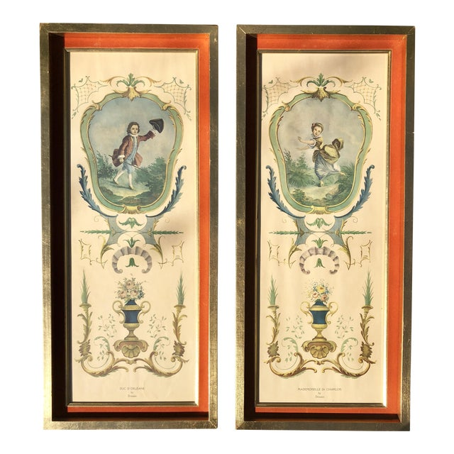 Neoclassical Framed Lithograph Prints - a Pair For Sale