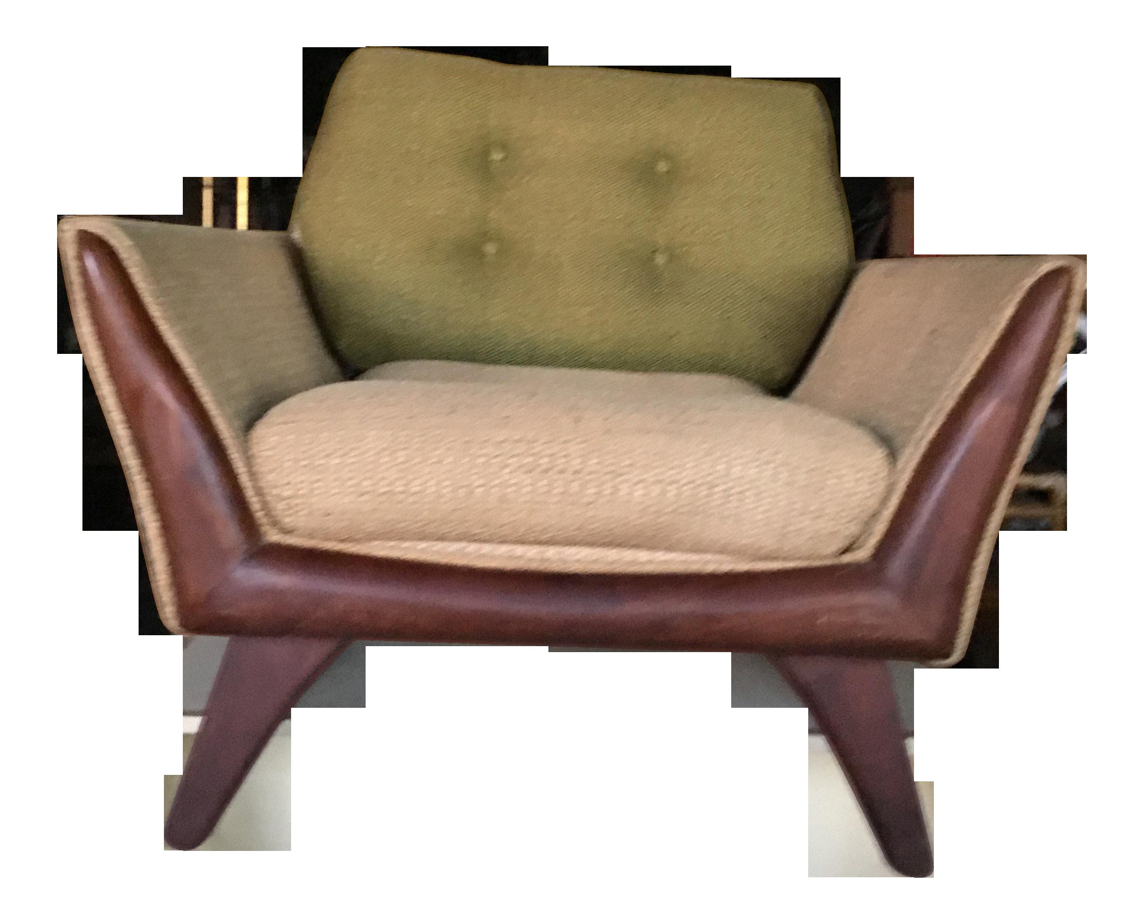 Kraft Associates Mid Century Modern Upholstered Chair With Walnut Legs