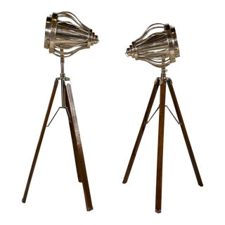 Industrial Style Tripod Floor Lamps - a Pair