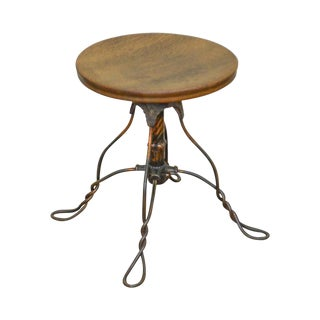 Antique Victorian Oak Round Seat Piano Stool W/ Twisted Wrought Iron Metal Base