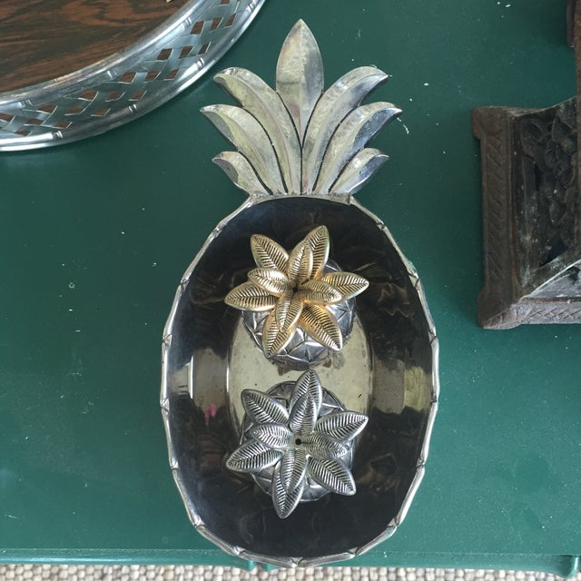 Vintage Silver Pineapple Bowl With Matching Pineapple Salt & Pepper Shaker Set - Image 4 of 10