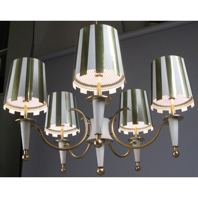 1960s Brass & White Lacquer Five-Light Chandelier For Sale In New York - Image 6 of 6