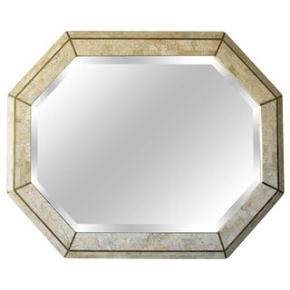 Tessellated Coral and Brass Octagon Mirror by Maitland-Smith, 1980s For Sale