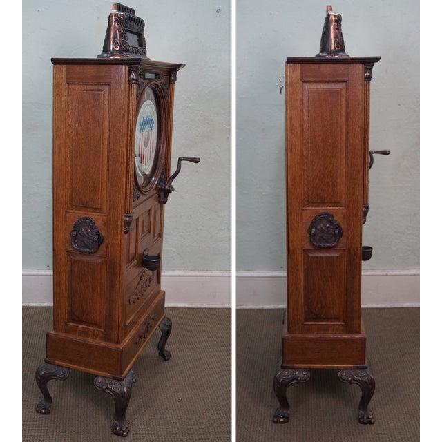 Country The Dewey Antique Oak Upright 5 Cent Slot Machine For Sale - Image 3 of 10