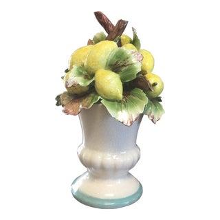 Capodimonte Porcelain Lemon Fruit Baskets - a Pair