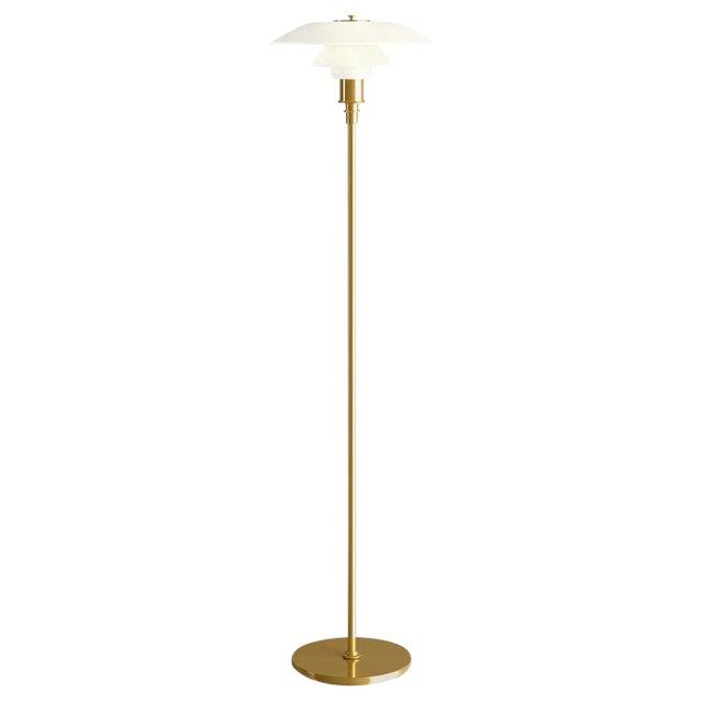 Poul Henningsen Brass and Glass Ph Floor Lamp for Louis Poulsen For Sale