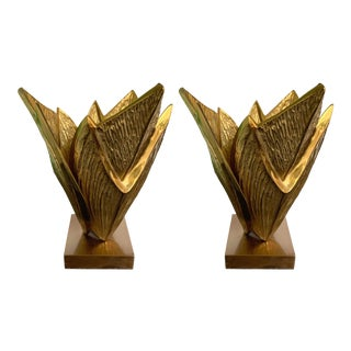 Pair of Bronze Lamps Milos by Maison Charles. France, 1970s For Sale