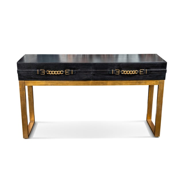 Vintage Leather and Metal Console Table For Sale - Image 9 of 9