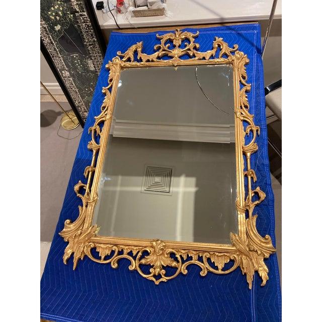 Gold Large Vintage 1940s Gold Framed Mirror For Sale - Image 8 of 8