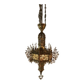 Antique Brass Moorish Church Celiling Chandleier For Sale