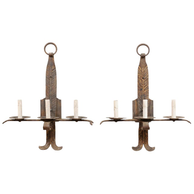 French Mid-Century Three-Light Iron Sconces - a Pair For Sale