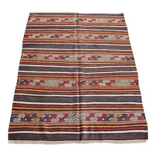 Handwoven Vintage Striped Design Floor Kilim Rug For Sale