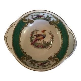 1930s Staffordshire Myott & Son Chelsea Bird Dish in Green For Sale