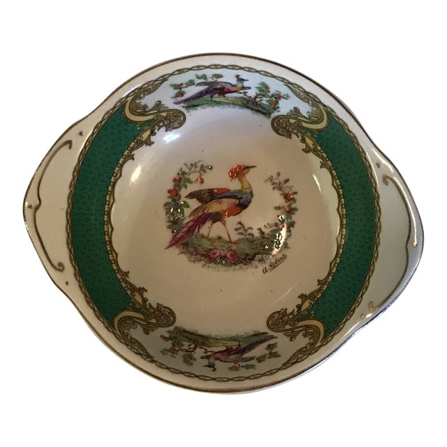 1930s Staffordshire Myott & Son Chelsea Bird Dish in Green For Sale